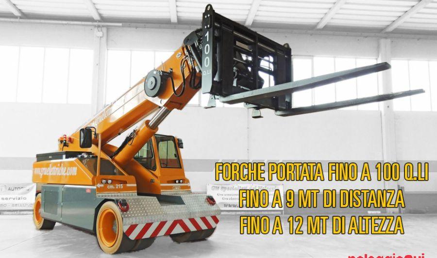 Noleggio GRU ELETTRICA CON FORCHE PORTATA 100 Q.LI