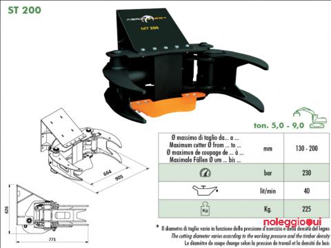 Cesoia Forestale per Miniescavatore da 500QL: AGRIFOREST ST 200R