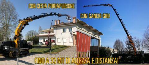 Special crane cingolata con braccio articolato, jib idraulico accessoriabile con ventosa o cesta